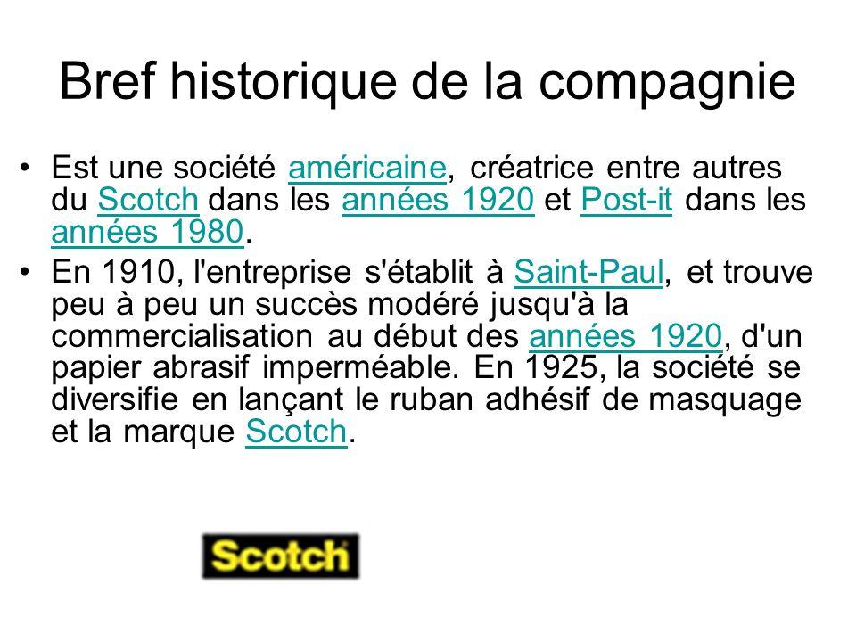 Bref historique de la compagnie Est une société américaine, créatrice entre autres du Scotch dans les années 1920 et Post-it dans les années 1980.amér