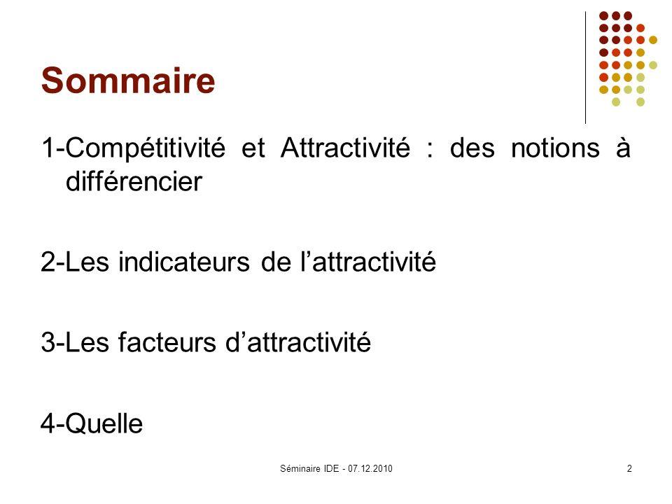 Sommaire 1-Compétitivité et Attractivité : des notions à différencier 2-Les indicateurs de lattractivité 3-Les facteurs dattractivité 4-Quelle 2Sémina