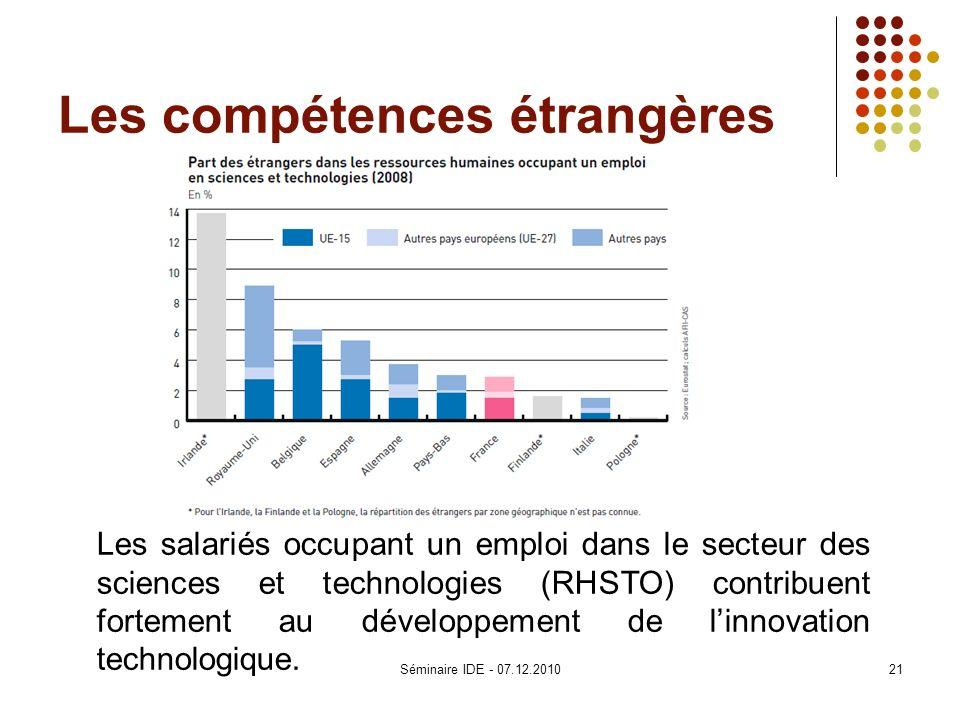 Les compétences étrangères Les salariés occupant un emploi dans le secteur des sciences et technologies (RHSTO) contribuent fortement au développement