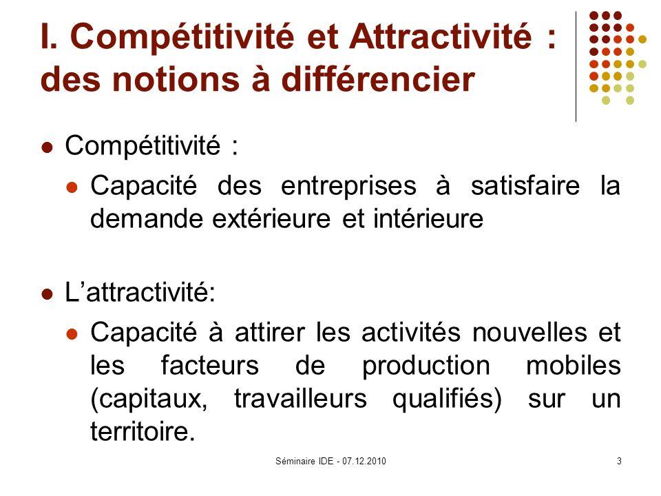 I. Compétitivité et Attractivité : des notions à différencier Compétitivité : Capacité des entreprises à satisfaire la demande extérieure et intérieur