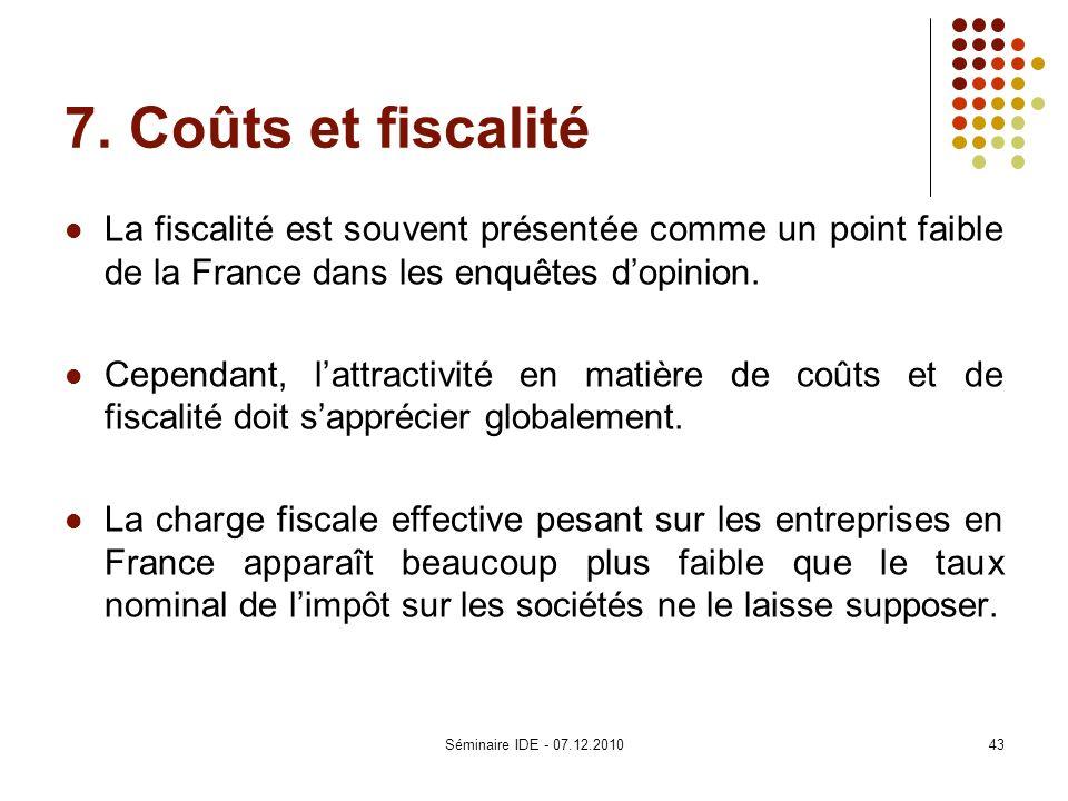 7. Coûts et fiscalité La fiscalité est souvent présentée comme un point faible de la France dans les enquêtes dopinion. Cependant, lattractivité en ma