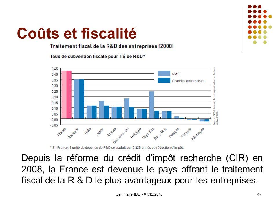 Coûts et fiscalité Depuis la réforme du crédit dimpôt recherche (CIR) en 2008, la France est devenue le pays offrant le traitement fiscal de la R & D