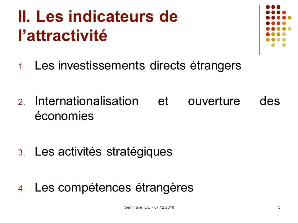 II. Les indicateurs de lattractivité 1. Les investissements directs étrangers 2. Internationalisation et ouverture des économies 3. Les activités stra