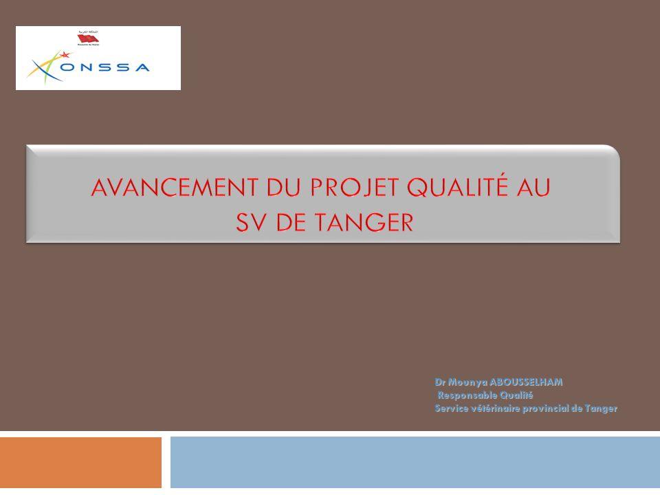 Dr Mounya ABOUSSELHAM Responsable Qualité Responsable Qualité Service vétérinaire provincial de Tanger