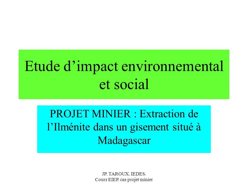 Les impacts et les enjeux environnementaux : introduction Optimisation du projet : Qq exemples de modification du projet pour réduire les impacts Usine de séparation des minéraux déplacée de la zone portuaire au secteur minier.