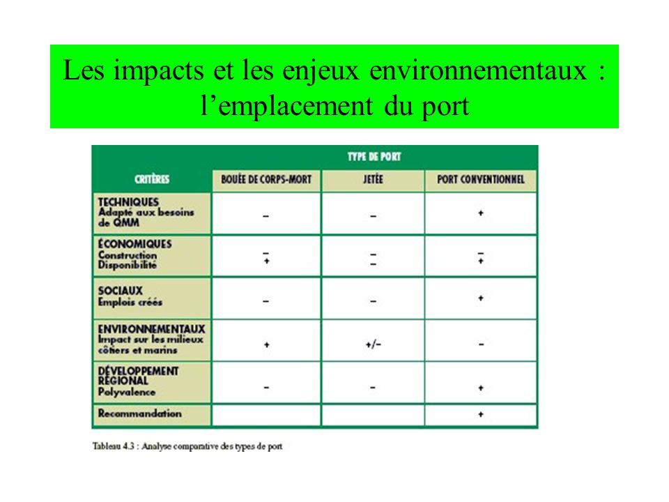 Les impacts et les enjeux environnementaux : lemplacement du port