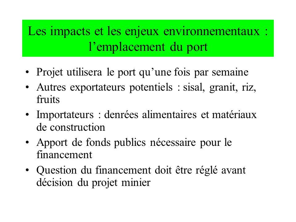 Projet utilisera le port quune fois par semaine Autres exportateurs potentiels : sisal, granit, riz, fruits Importateurs : denrées alimentaires et mat