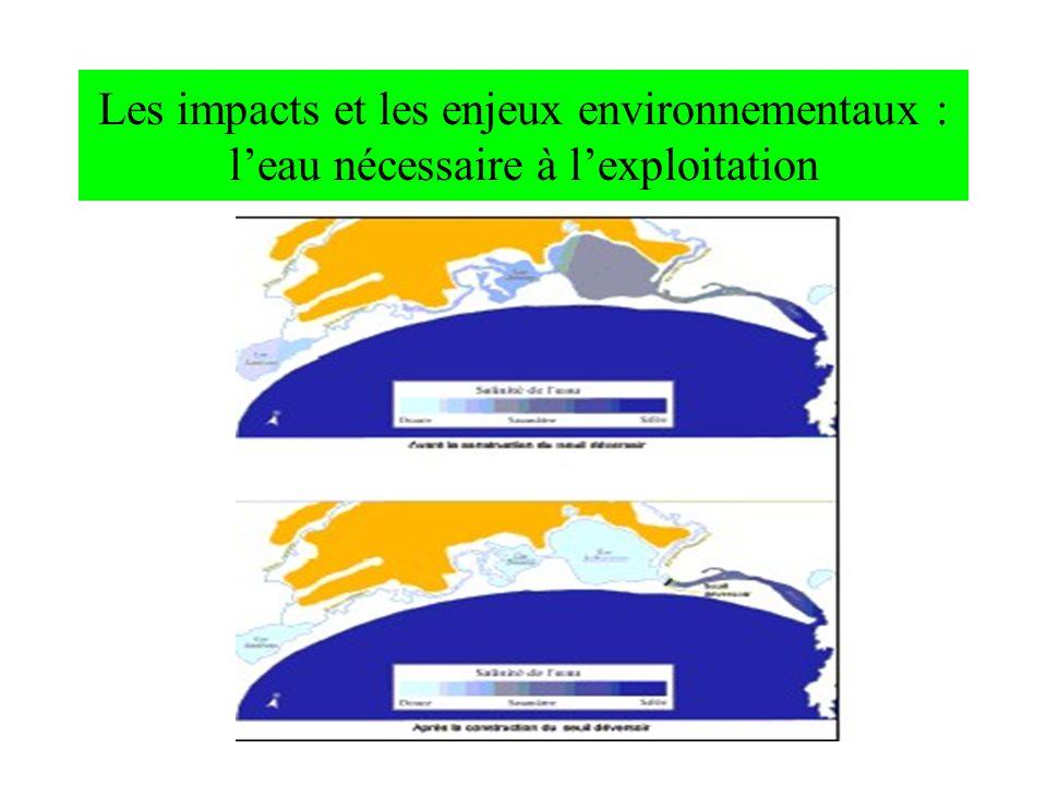 Les impacts et les enjeux environnementaux : leau nécessaire à lexploitation
