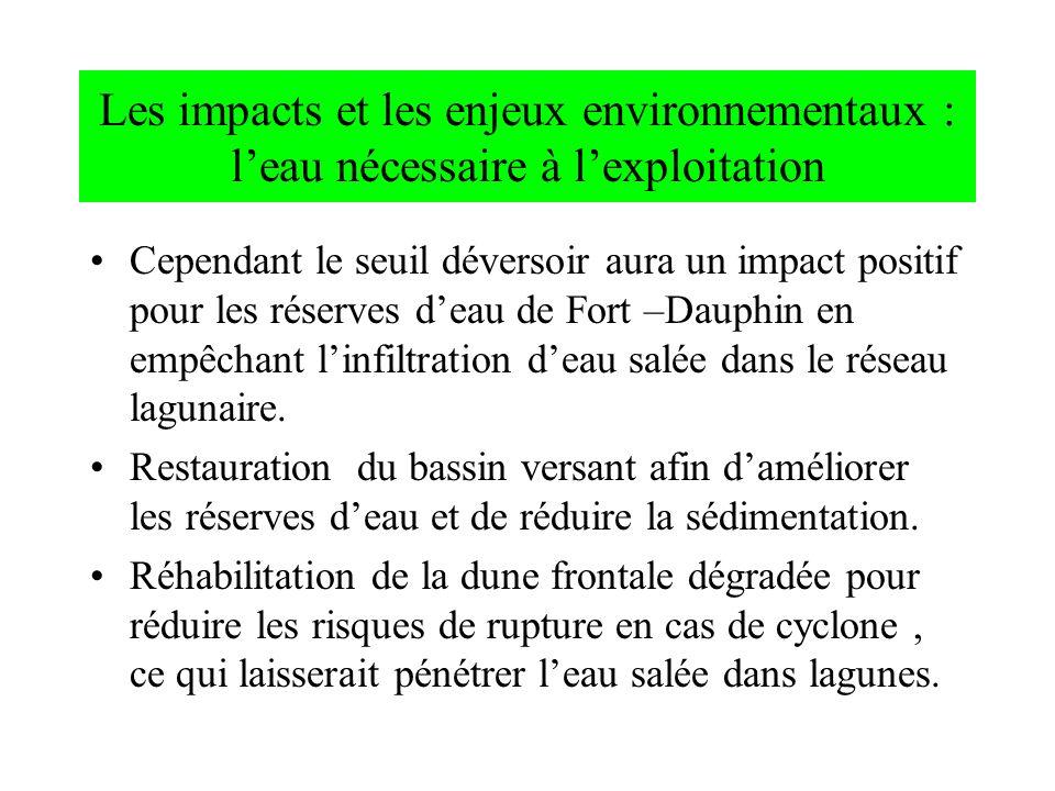 Cependant le seuil déversoir aura un impact positif pour les réserves deau de Fort –Dauphin en empêchant linfiltration deau salée dans le réseau lagun