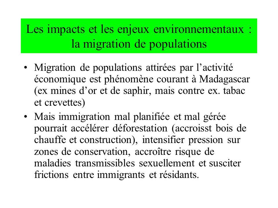 Les impacts et les enjeux environnementaux : la migration de populations Migration de populations attirées par lactivité économique est phénomène cour