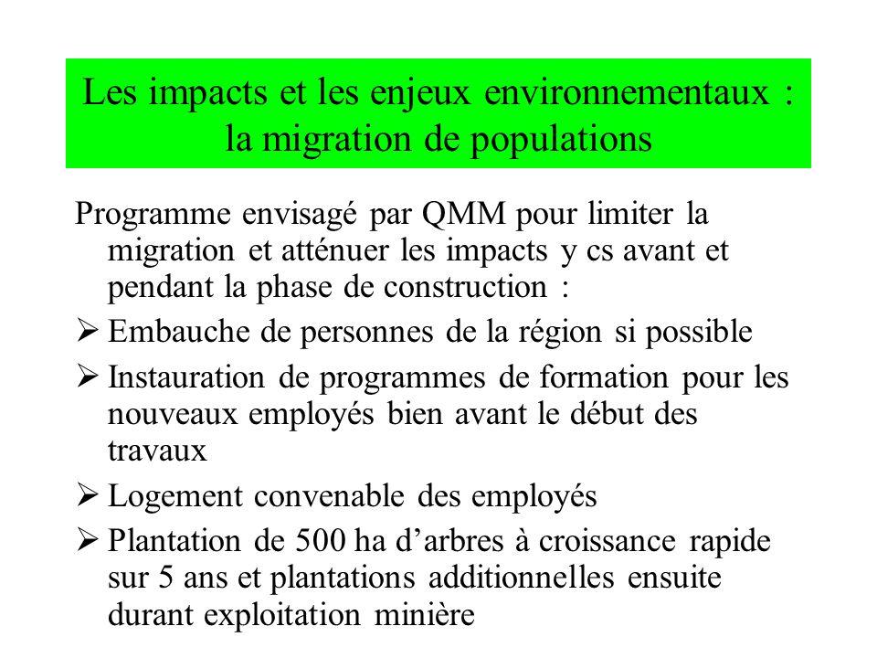 Les impacts et les enjeux environnementaux : la migration de populations Programme envisagé par QMM pour limiter la migration et atténuer les impacts