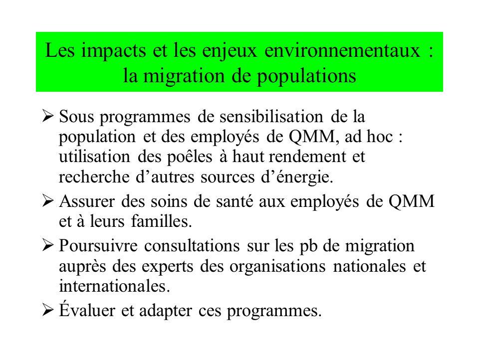 Les impacts et les enjeux environnementaux : la migration de populations Sous programmes de sensibilisation de la population et des employés de QMM, a
