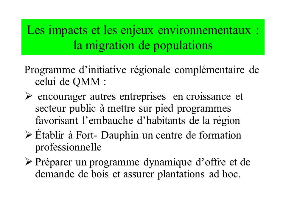 Les impacts et les enjeux environnementaux : la migration de populations Programme dinitiative régionale complémentaire de celui de QMM : encourager a