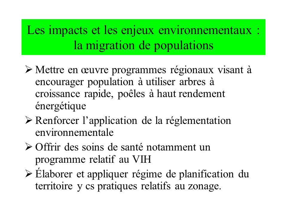 Les impacts et les enjeux environnementaux : la migration de populations Mettre en œuvre programmes régionaux visant à encourager population à utilise