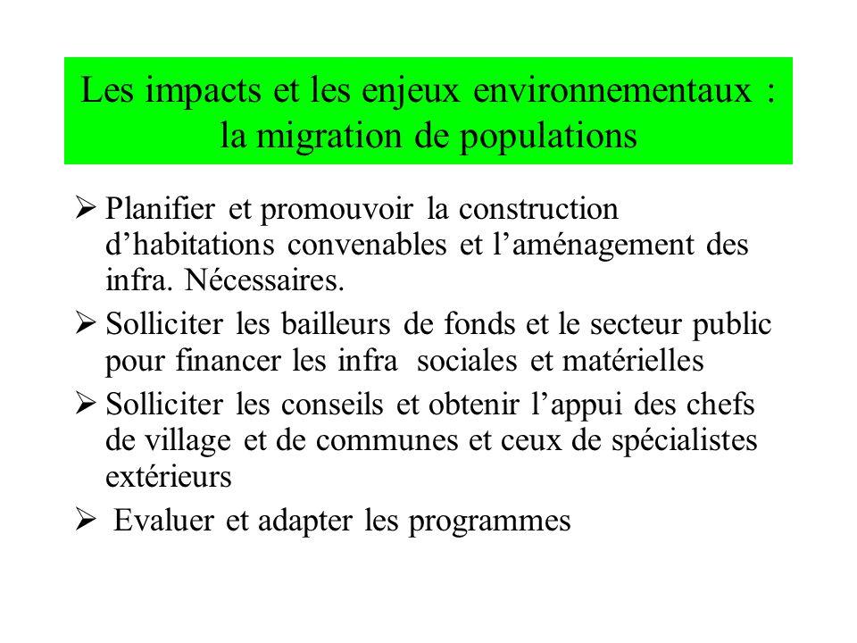 Les impacts et les enjeux environnementaux : la migration de populations Planifier et promouvoir la construction dhabitations convenables et laménagem