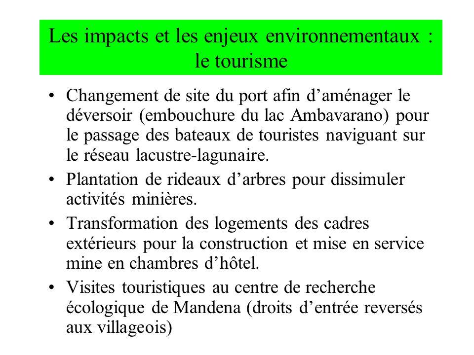 Les impacts et les enjeux environnementaux : le tourisme Changement de site du port afin daménager le déversoir (embouchure du lac Ambavarano) pour le