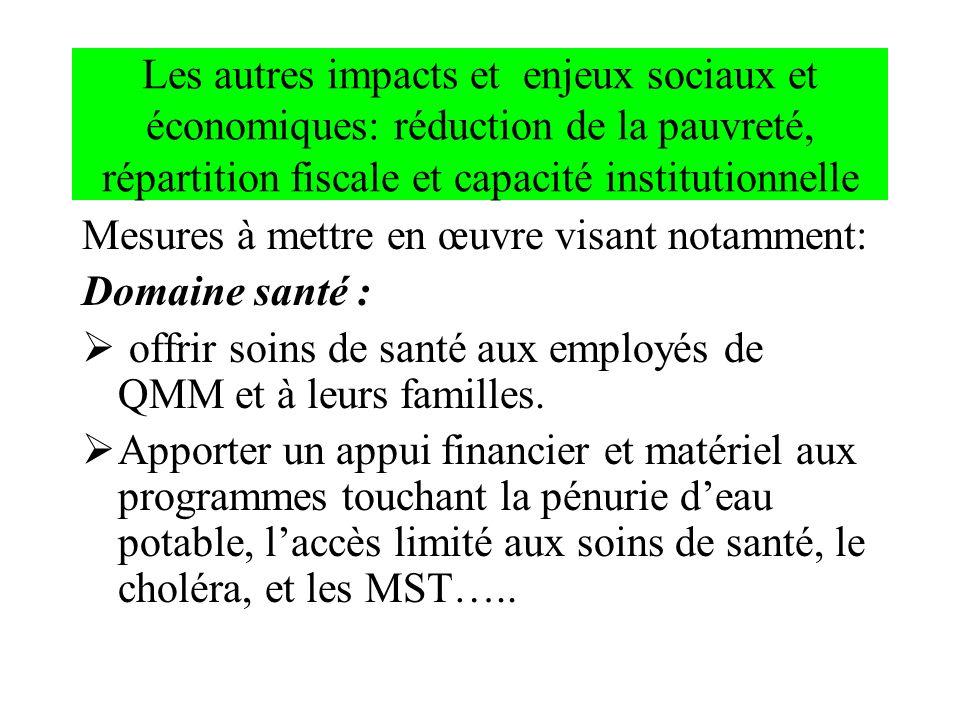 Les autres impacts et enjeux sociaux et économiques: réduction de la pauvreté, répartition fiscale et capacité institutionnelle Mesures à mettre en œu