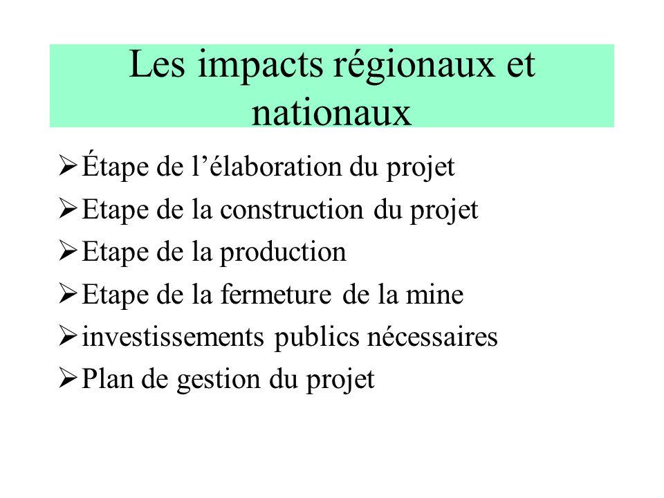 Les impacts régionaux et nationaux Étape de lélaboration du projet Etape de la construction du projet Etape de la production Etape de la fermeture de