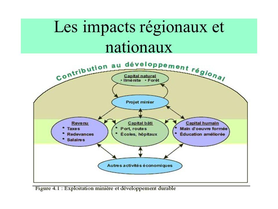 Les impacts régionaux et nationaux