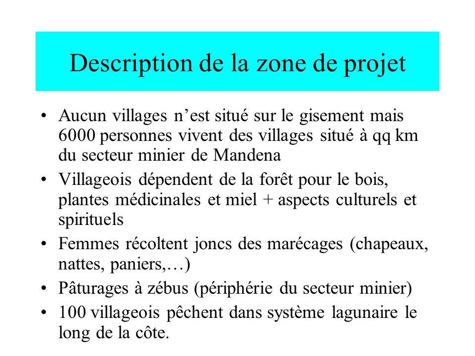 Description de la zone de projet Aucun villages nest situé sur le gisement mais 6000 personnes vivent des villages situé à qq km du secteur minier de