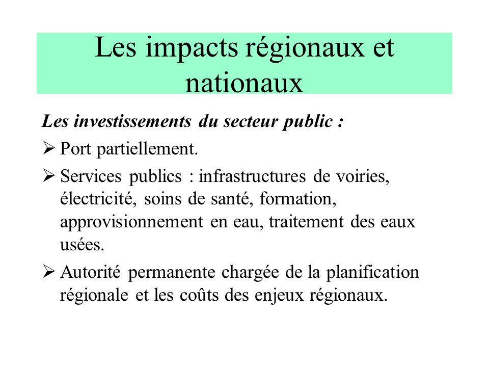 Les impacts régionaux et nationaux Les investissements du secteur public : Port partiellement. Services publics : infrastructures de voiries, électric