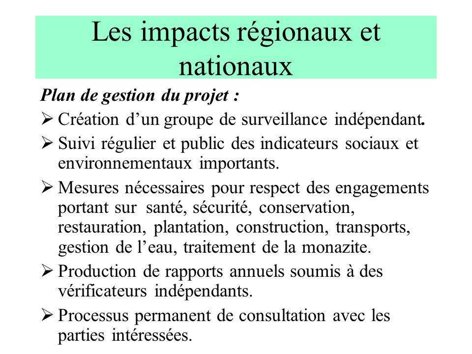 Les impacts régionaux et nationaux Plan de gestion du projet : Création dun groupe de surveillance indépendant. Suivi régulier et public des indicateu