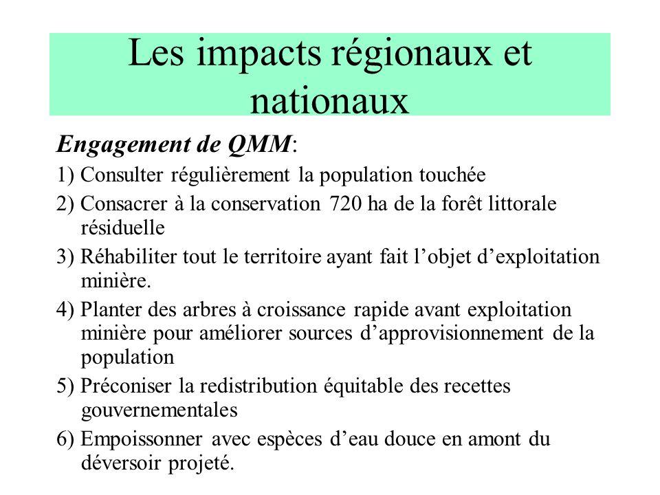 Les impacts régionaux et nationaux Engagement de QMM: 1) Consulter régulièrement la population touchée 2) Consacrer à la conservation 720 ha de la for