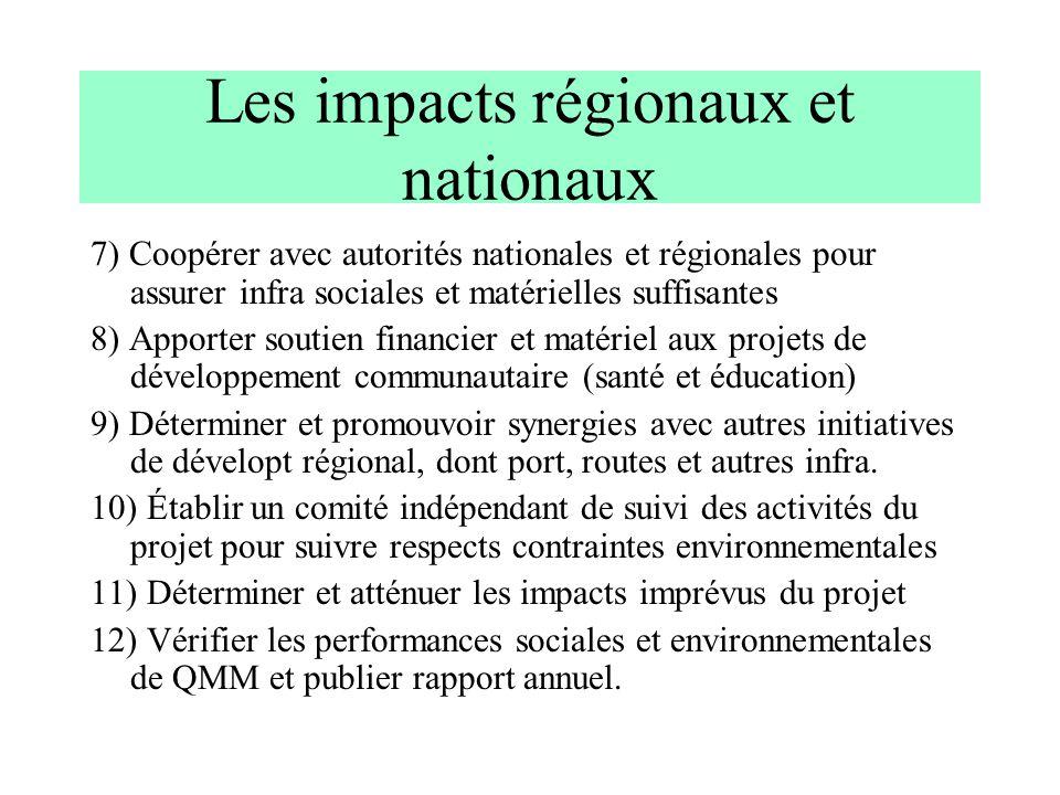 Les impacts régionaux et nationaux 7) Coopérer avec autorités nationales et régionales pour assurer infra sociales et matérielles suffisantes 8) Appor