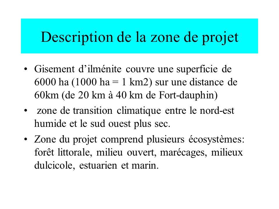 Description de la zone de projet Gisement dilménite couvre une superficie de 6000 ha (1000 ha = 1 km2) sur une distance de 60km (de 20 km à 40 km de F