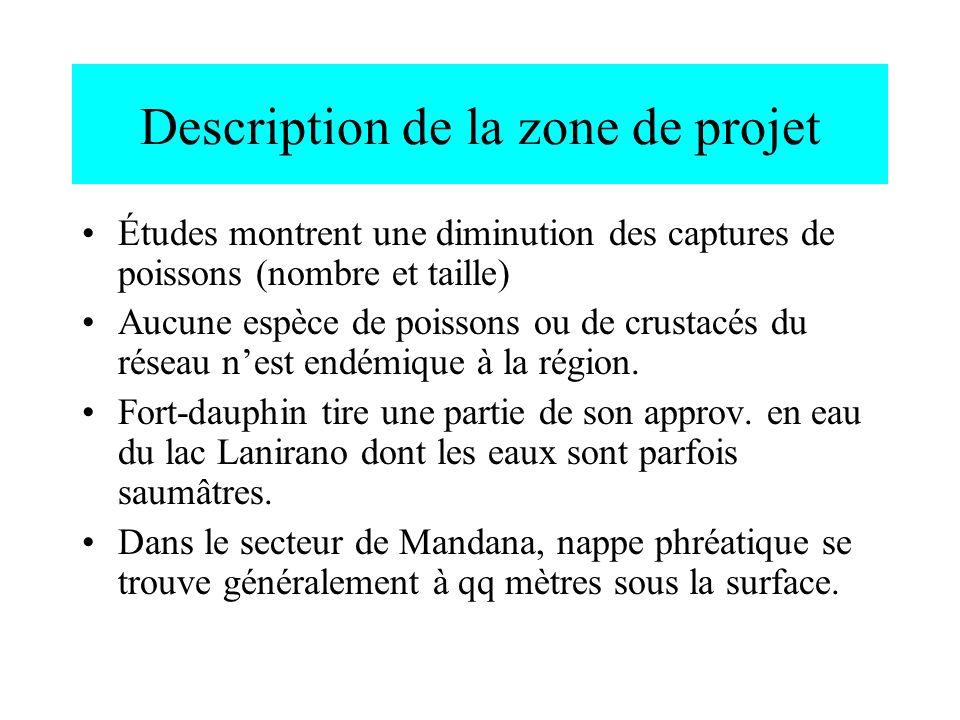 Description de la zone de projet Études montrent une diminution des captures de poissons (nombre et taille) Aucune espèce de poissons ou de crustacés