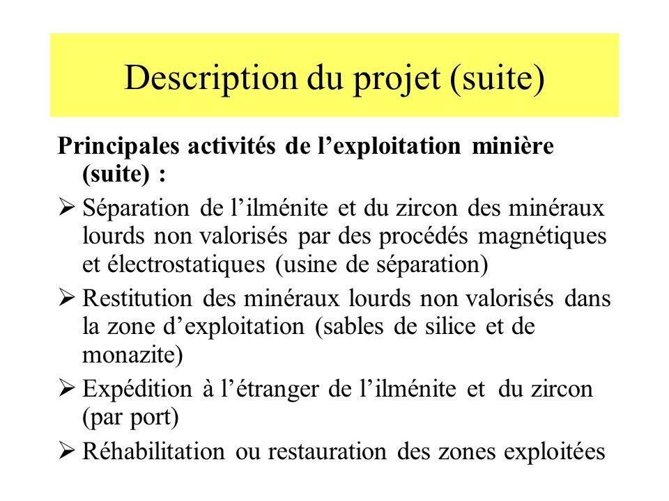 Description du projet (suite) Principales activités de lexploitation minière (suite) : Séparation de lilménite et du zircon des minéraux lourds non va