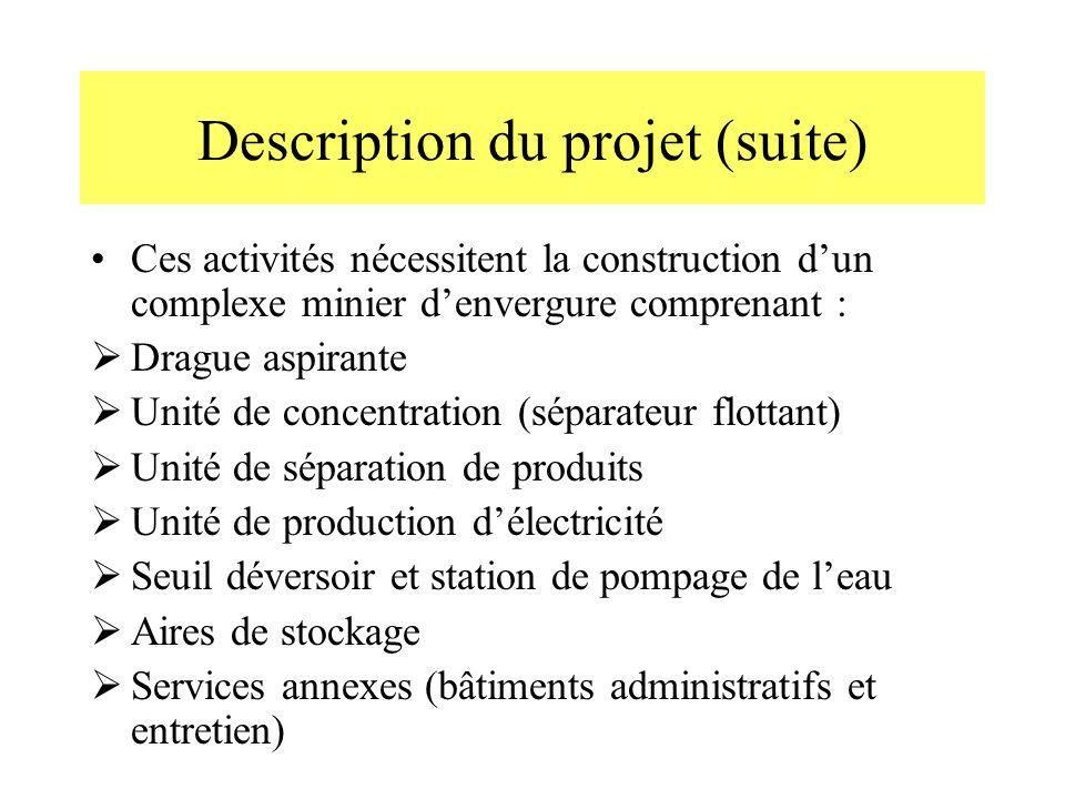 Description du projet (suite) Ces activités nécessitent la construction dun complexe minier denvergure comprenant : Drague aspirante Unité de concentr
