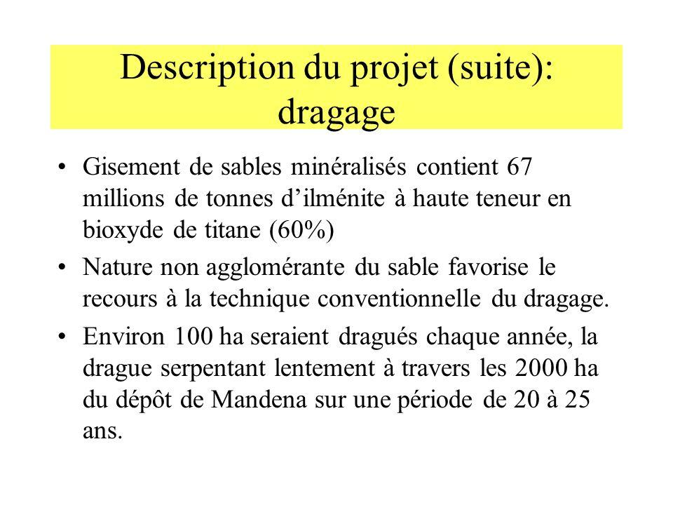 Description du projet (suite): dragage Gisement de sables minéralisés contient 67 millions de tonnes dilménite à haute teneur en bioxyde de titane (60