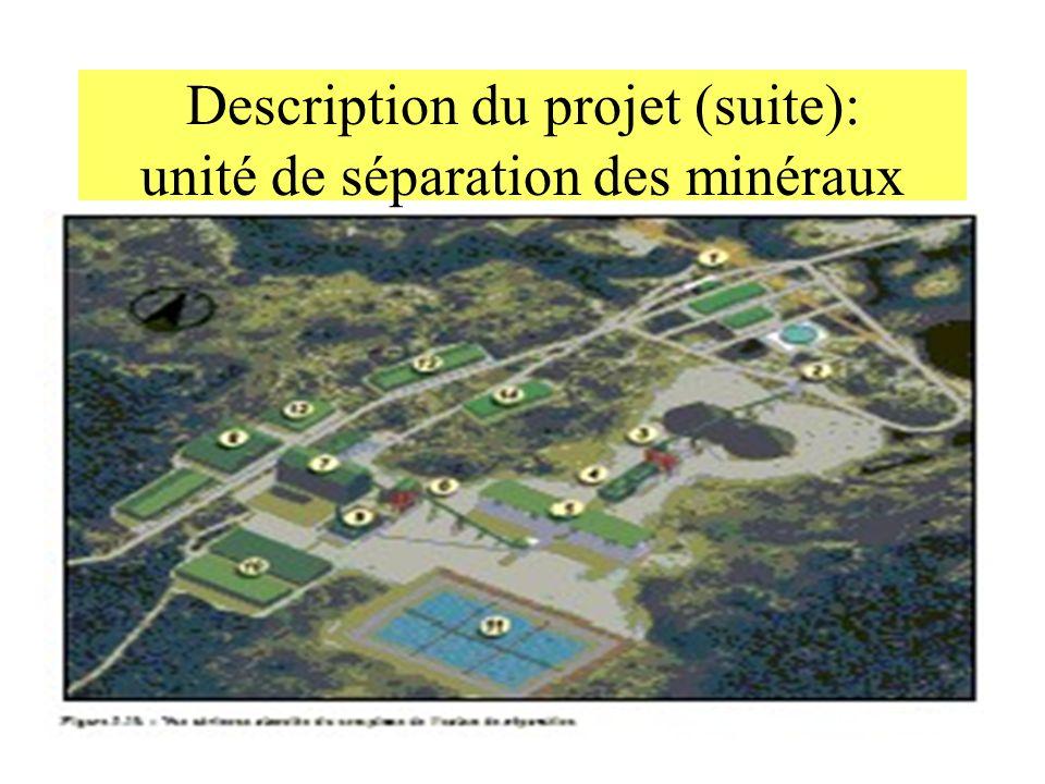 Description du projet (suite): unité de séparation des minéraux