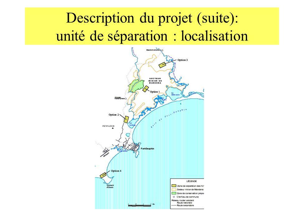 Description du projet (suite): unité de séparation : localisation