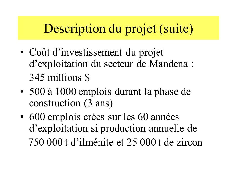 Description du projet (suite) Coût dinvestissement du projet dexploitation du secteur de Mandena : 345 millions $ 500 à 1000 emplois durant la phase d