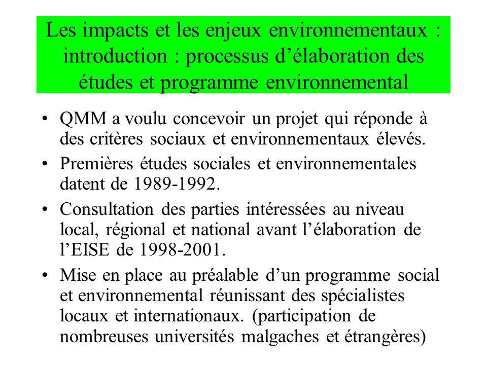 Les impacts et les enjeux environnementaux : introduction : processus délaboration des études et programme environnemental QMM a voulu concevoir un pr