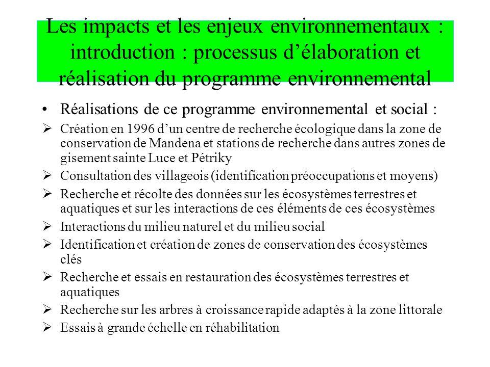 Les impacts et les enjeux environnementaux : introduction : processus délaboration et réalisation du programme environnemental Réalisations de ce prog