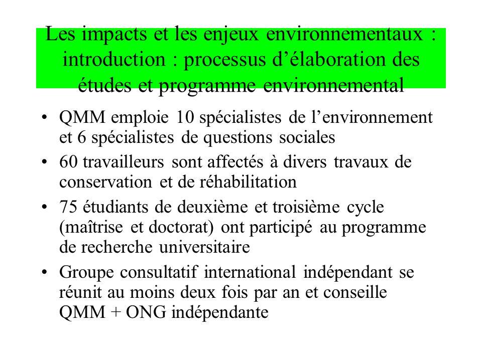 Les impacts et les enjeux environnementaux : introduction : processus délaboration des études et programme environnemental QMM emploie 10 spécialistes