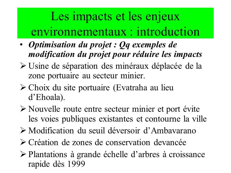 Les impacts et les enjeux environnementaux : introduction Optimisation du projet : Qq exemples de modification du projet pour réduire les impacts Usin