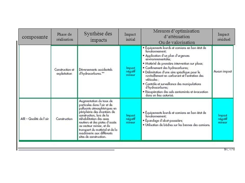 composante Phase de réalisation Synthèse des impacts Impact initial Mesures doptimisation datténuation Ou de valorisation Impact résiduel