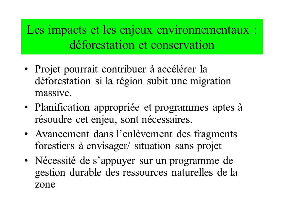 Les impacts et les enjeux environnementaux : déforestation et conservation Projet pourrait contribuer à accélérer la déforestation si la région subit