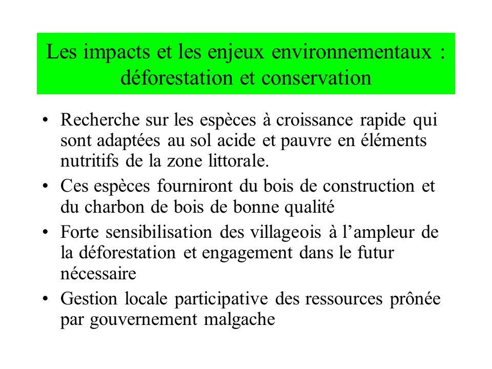 Les impacts et les enjeux environnementaux : déforestation et conservation Recherche sur les espèces à croissance rapide qui sont adaptées au sol acid