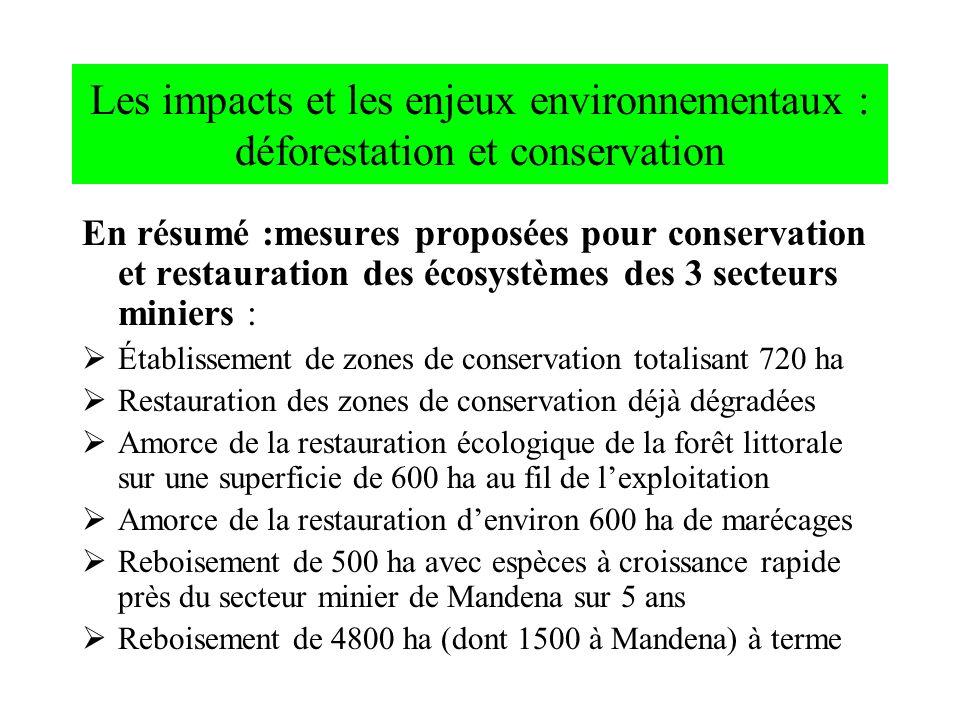 Les impacts et les enjeux environnementaux : déforestation et conservation En résumé :mesures proposées pour conservation et restauration des écosystè
