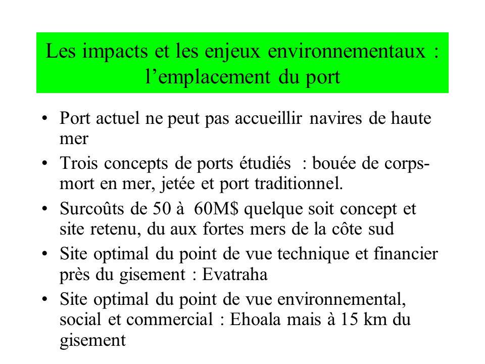 Les impacts et les enjeux environnementaux : lemplacement du port Port actuel ne peut pas accueillir navires de haute mer Trois concepts de ports étud