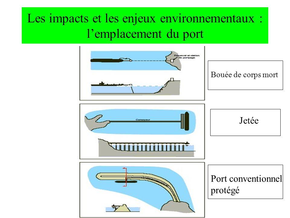 Les impacts et les enjeux environnementaux : lemplacement du port Bouée de corps mort Jetée Port conventionnel protégé