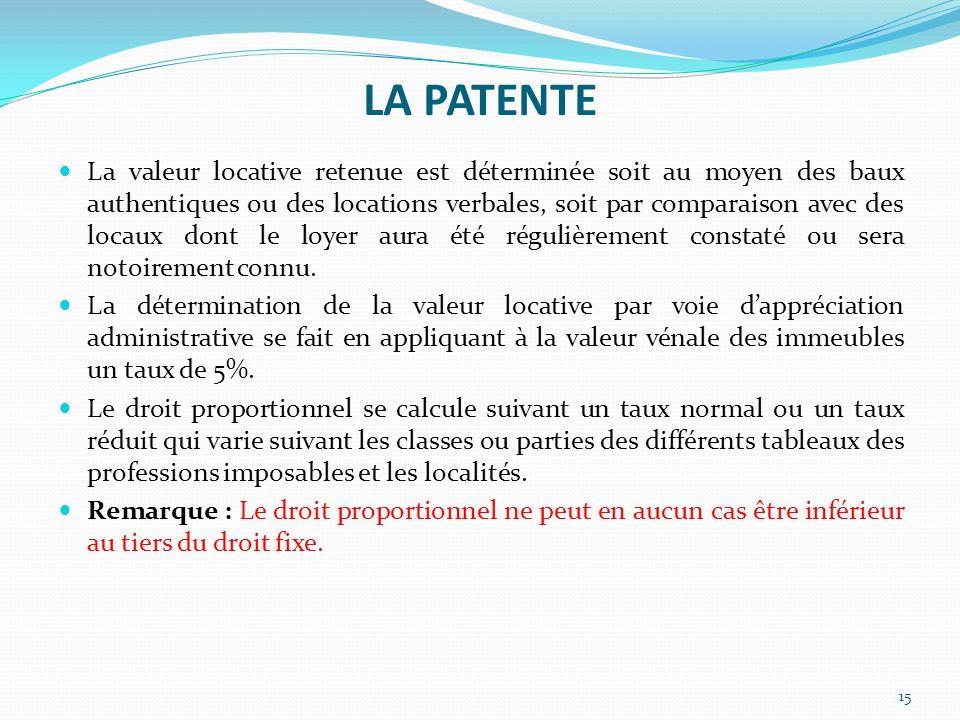 LA PATENTE 15 La valeur locative retenue est déterminée soit au moyen des baux authentiques ou des locations verbales, soit par comparaison avec des l