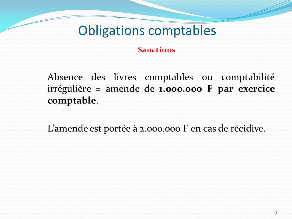 Obligations comptables Sanctions Absence des livres comptables ou comptabilité irrégulière = amende de 1.000.000 F par exercice comptable. Lamende est