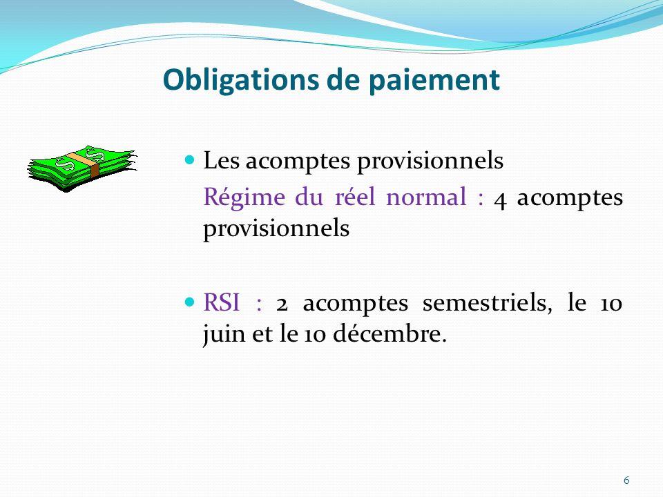 Obligations de paiement Les acomptes provisionnels Régime du réel normal : 4 acomptes provisionnels RSI : 2 acomptes semestriels, le 10 juin et le 10