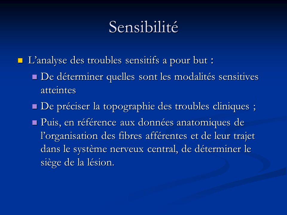 Sensibilité Lanalyse des troubles sensitifs a pour but : Lanalyse des troubles sensitifs a pour but : De déterminer quelles sont les modalités sensiti